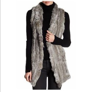 Love Token Rabbit Fur Knit Drape Front Vest Grey M
